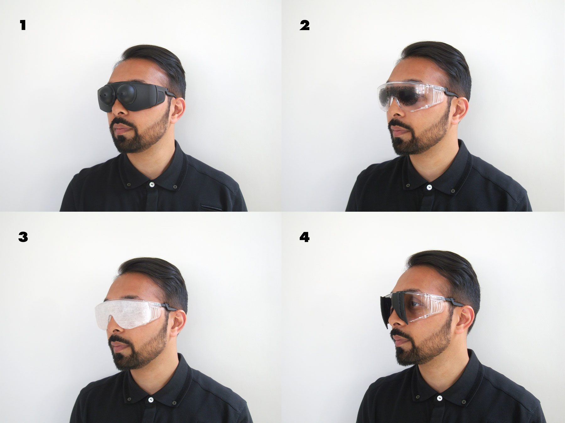 man wearing simspecs in 4 different modes