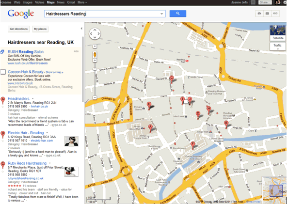 Google Map Search - Hairdressers Reading