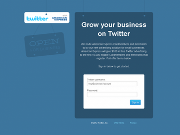 The Twitter advertising sign up screen