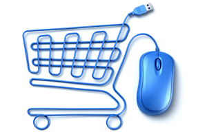 Image of a shopping cart made from a computer mouse cable