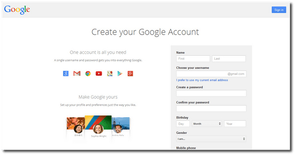 Create Google Account form
