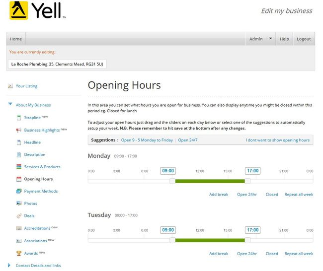 Image of 'Opening Hours' screen on Yell.com