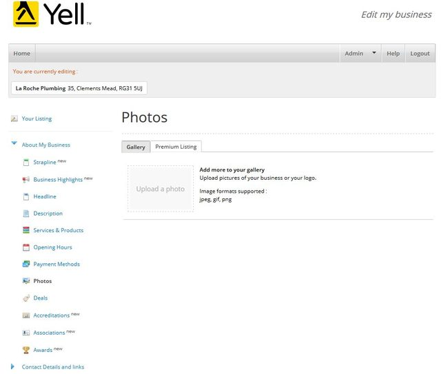 Image of 'Photos' screen on Yell.com