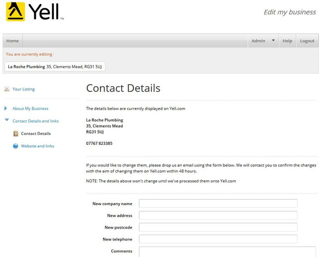Image of 'Contact Details' screen on Yell.com