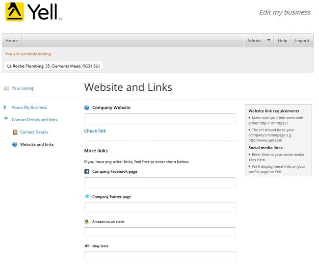 Image of 'Website and Links' screen on Yell.com