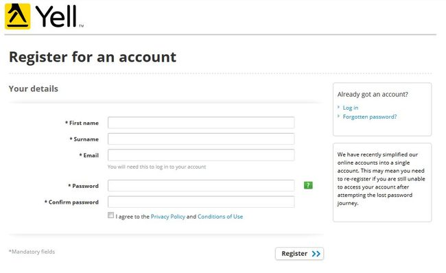 Image of 'Register for an account' screen on Yell.com