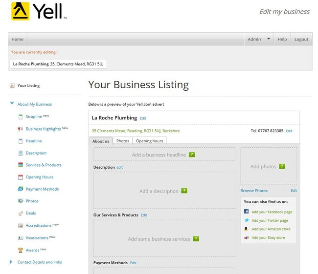 Image of 'Your Business Listing' page on Yell.com