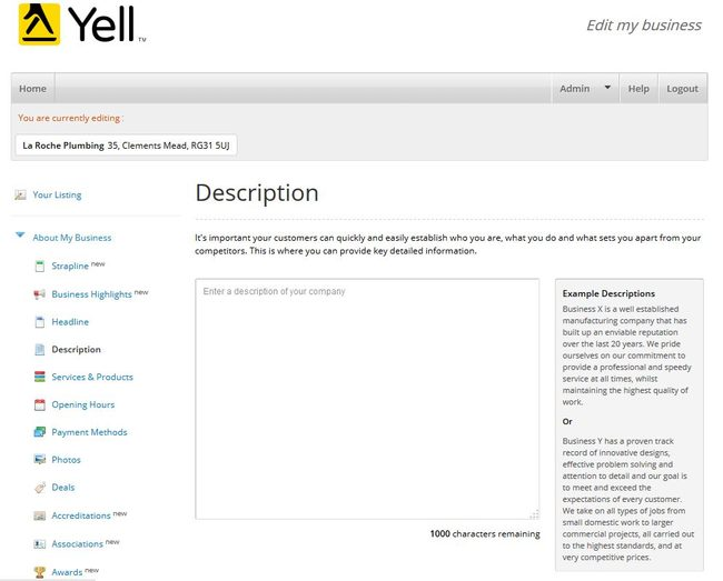 Image of 'Description' page on Yell.com