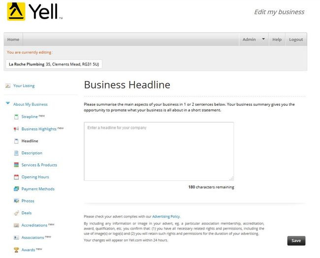 Image of 'Business Headline' screen on Yell.com