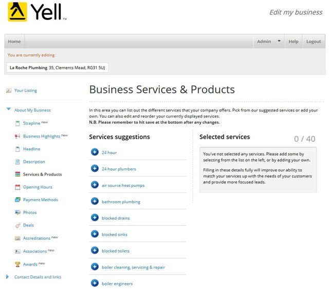Image of 'Business Services & Products' screen on Yell.com