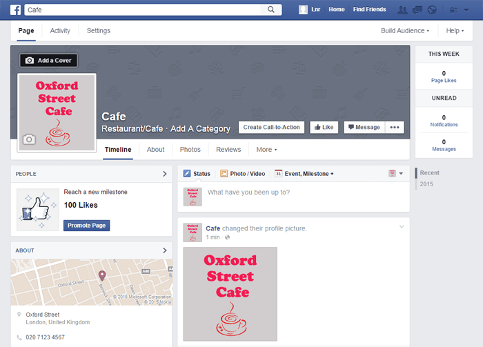 Screenshot of Facebook page creation