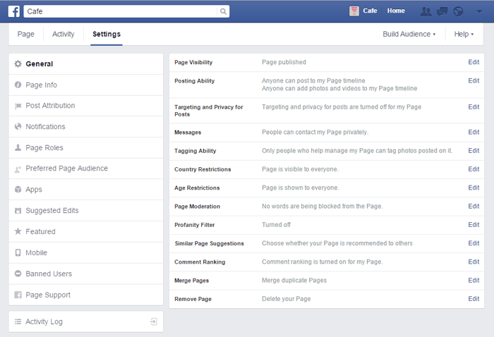 Screenshot of Facebook Settings page