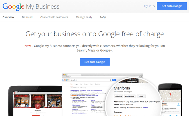 Image of Google My Business page