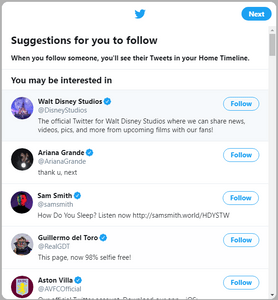 Twitter will automatically generate suggestions for you to follow depending on the interests you chose in the previous screen.