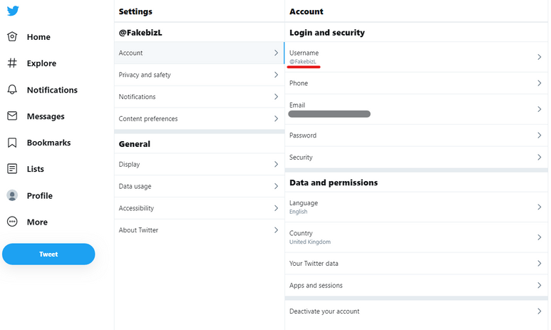 This shows the area of the settings screen where you can change your username.