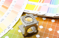 Pantone charts with magnifying glass