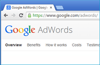 Google AdWords website page