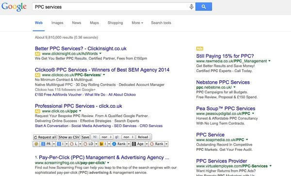 Where do PPC paid ads appear