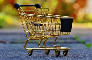 Empty Shopping Trolley at Christmas