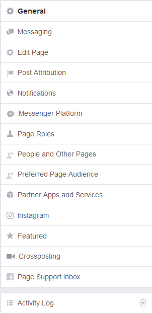 Facebook Business page settings tab