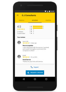 Read and respond to reviews on the yell for business app - android