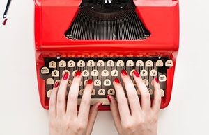 Image of red typewriter