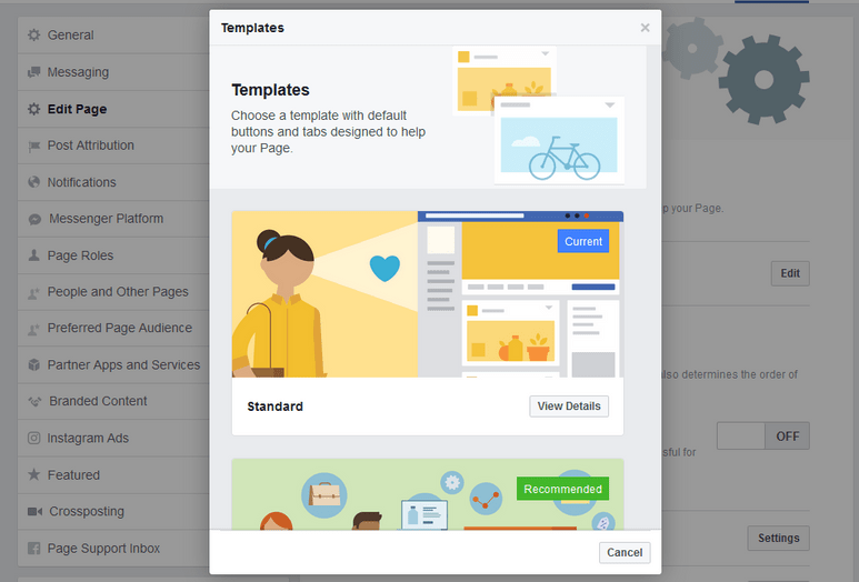 Edit Facebook Business Page Templates