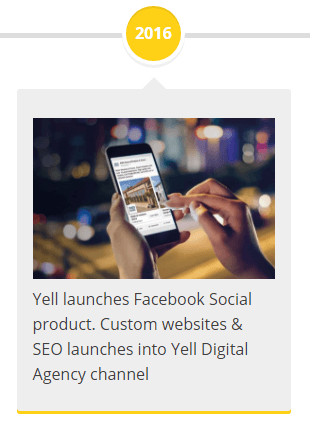 2016 - Yell launches Facebook Social product. Custom websites & SEO launches into Yell Digital Agency channel