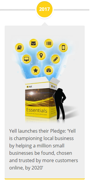 2017 - Yell launches their Pledge: 'Yell is championing local business by helping a million small businesses be found, chosen and trusted by more customers online, by 2020'
