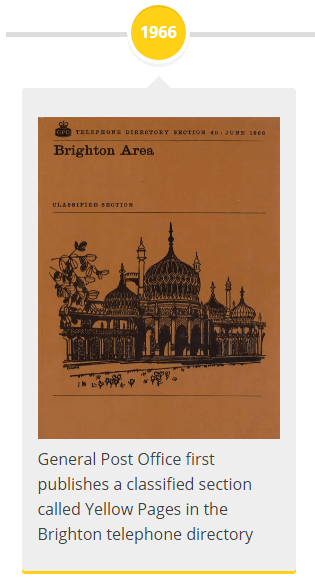1966 - General Post Office first publishes a classified section called Yellow Pages in the Brighton telephone directory