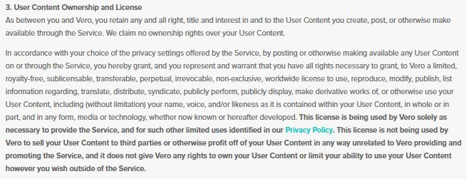 Vero terms of service - user content