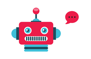 Robot with a web chat speech bubble