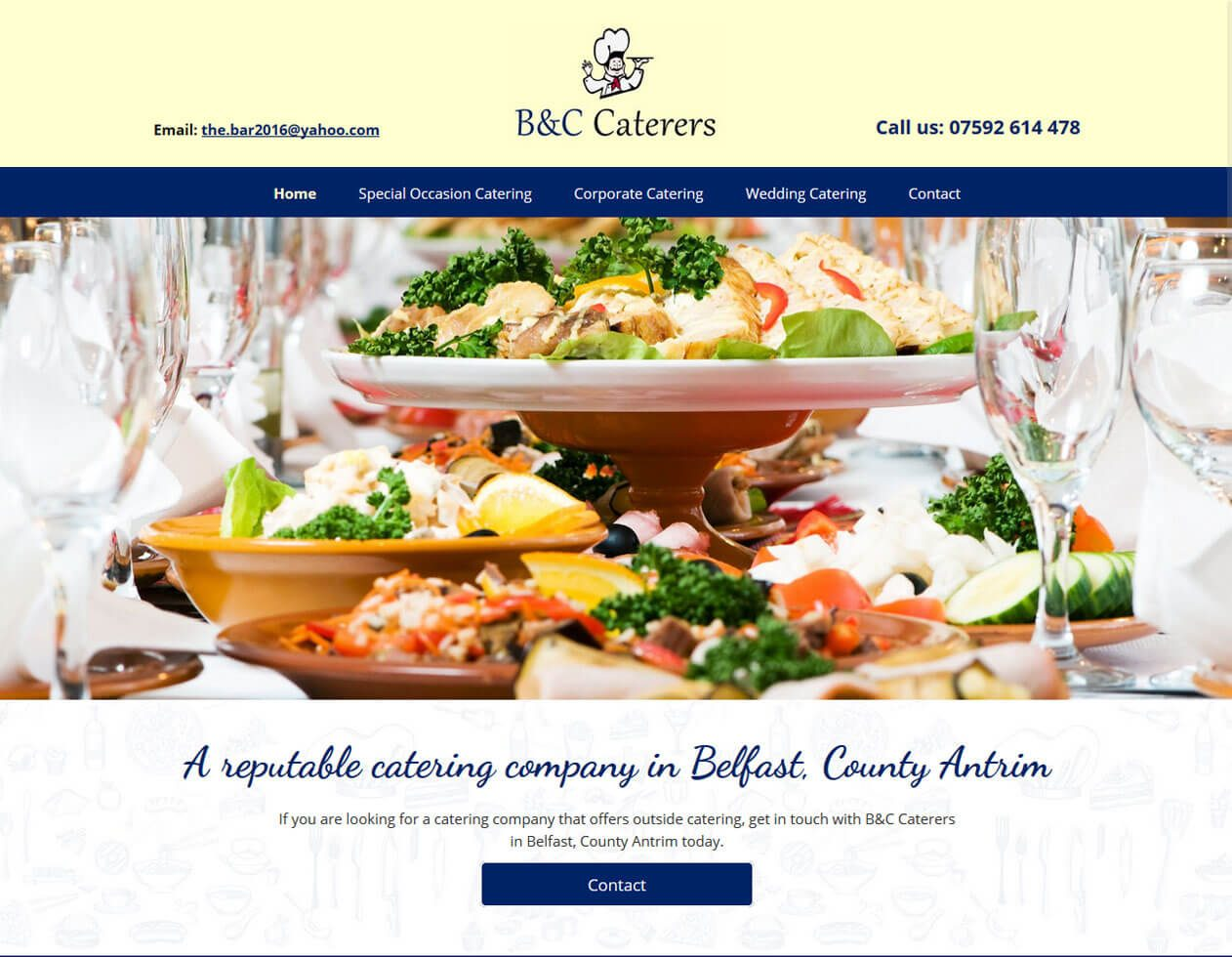 B&C Caterers premium website example from Yell