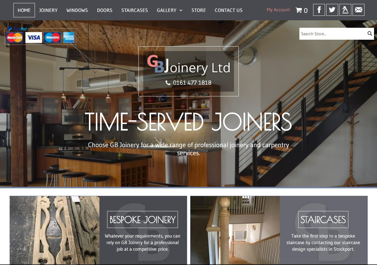 GB Joinery Store website example from Yell