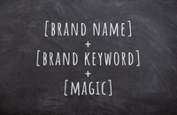 Headline writing formula: brand name + brand keyword + magic
