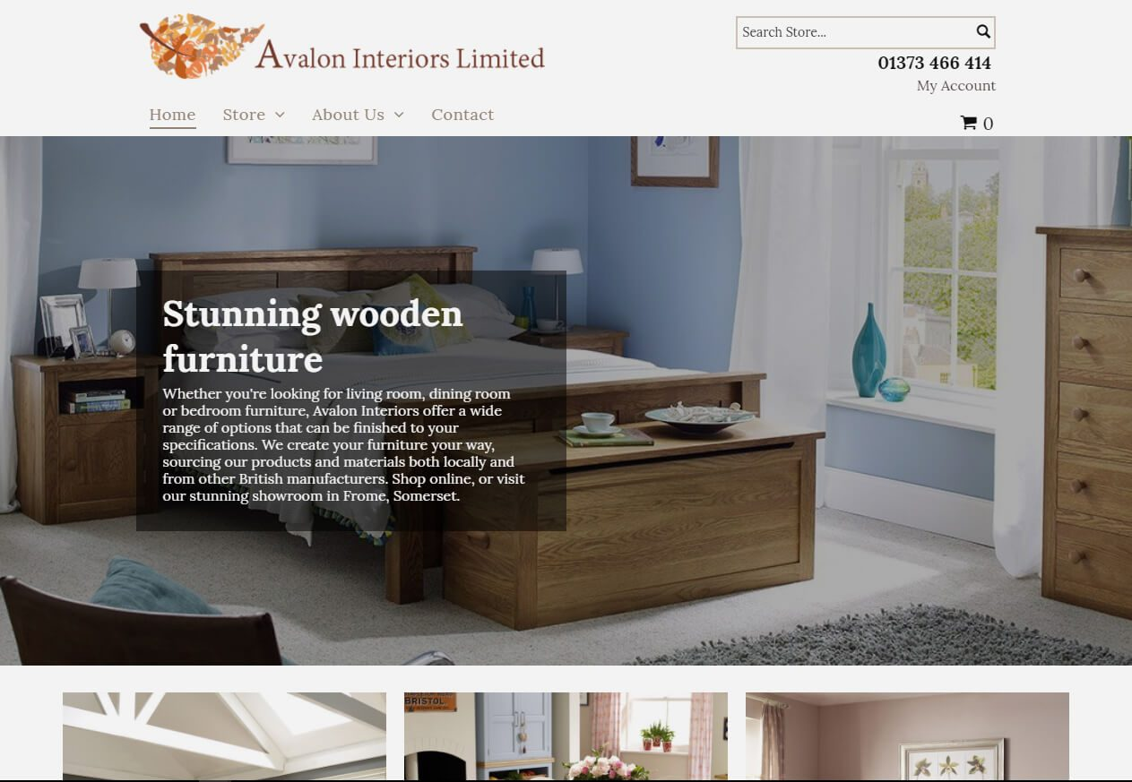 Avalon Interiors Ltd Stores Website example from Yell
