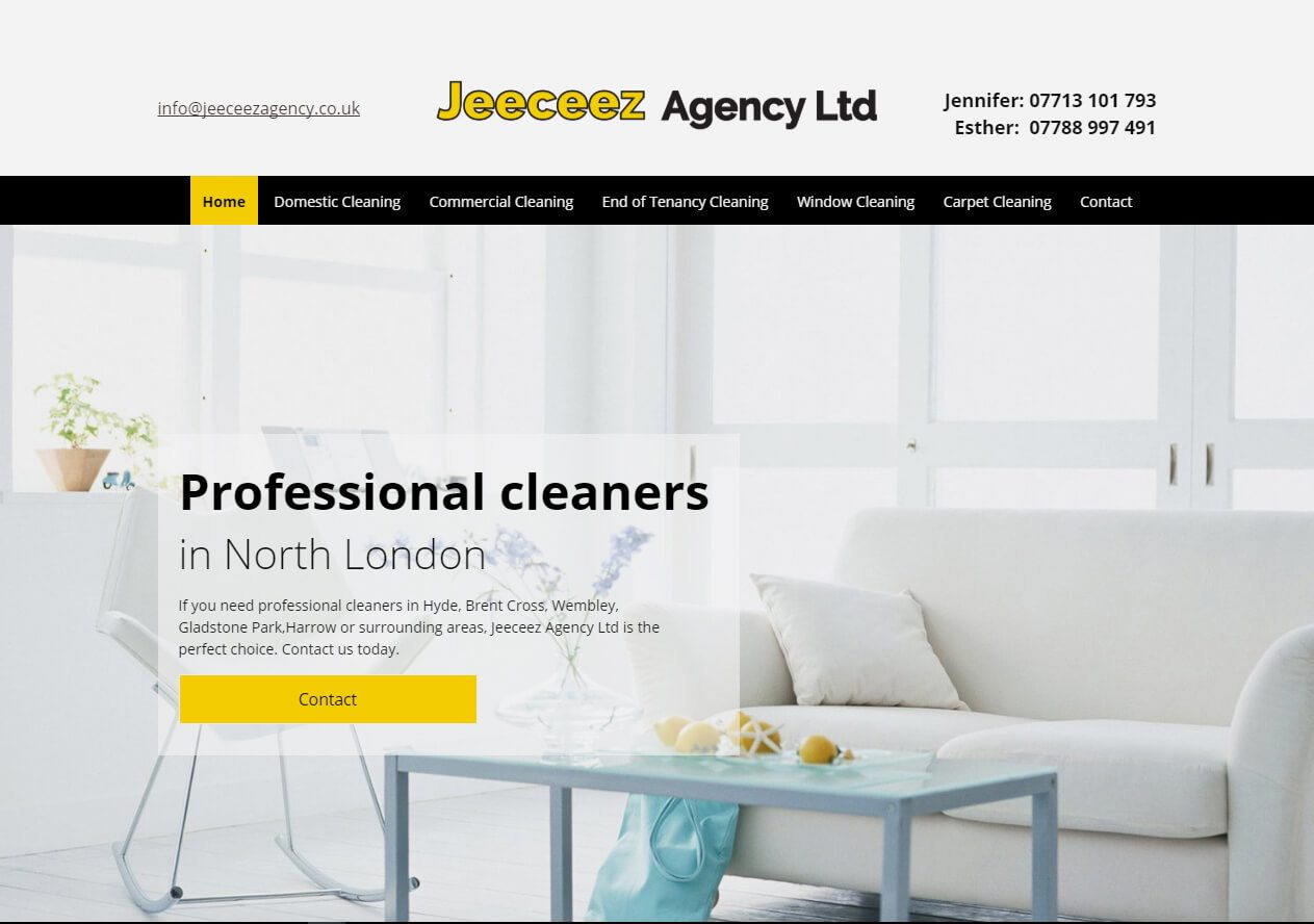 Jeeceez cleaners premoum Website example from Yell