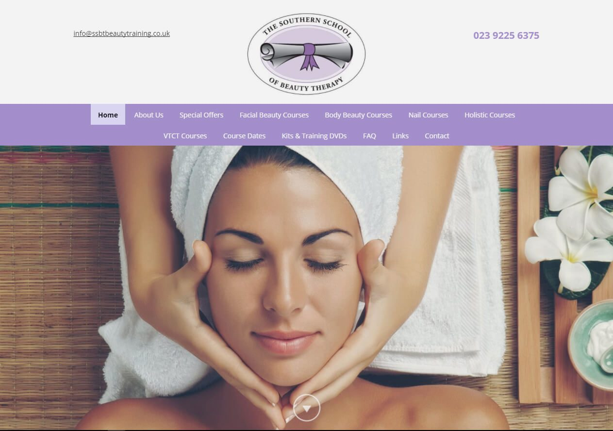 Southern School of Beauty Therapy plus website example from Yell