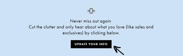 Screenshot of a button on ASOS that says 'Update your info'