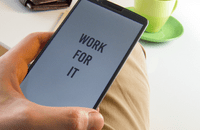 Phone screen showing the words 'Work for it'