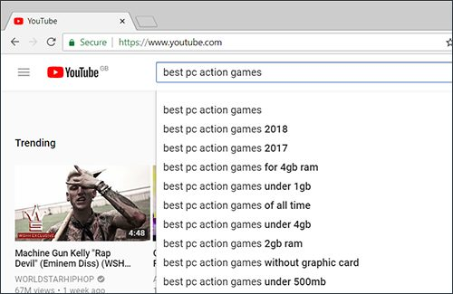 Image of YouTube search box