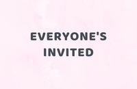 Writing saying 'Everyone's invited' on a pink marble background