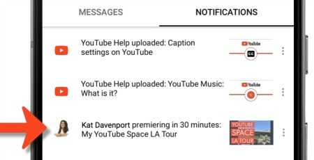 YouTube premiere notification