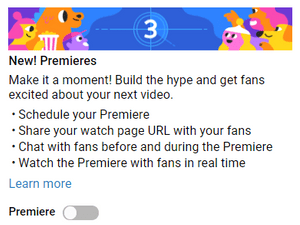 Image of YouTube Premieres feature