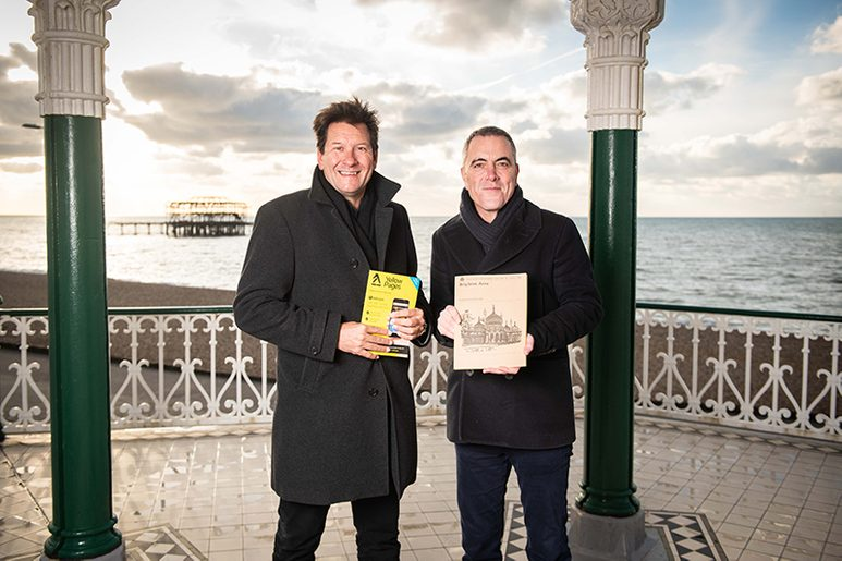 CEO of Yell Richard Hanscott with actor James Nesbitt in Brighton for the delivery of the final Yellow Pages