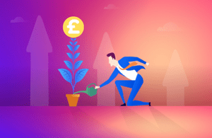 Illustration of a man watering a money tree with a big pound sign at the top.