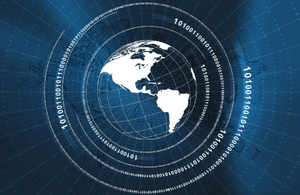 An image of a globe in blue and white surrounded by binary code.