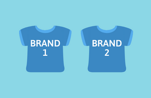 Two identical blue tshirts with 'brand one' and 'brand two' written on them