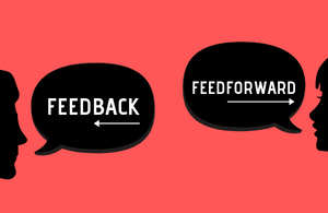 Speech bubbles showing the words feedback and feedforward