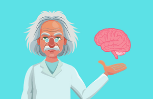 Scientist holding a brain